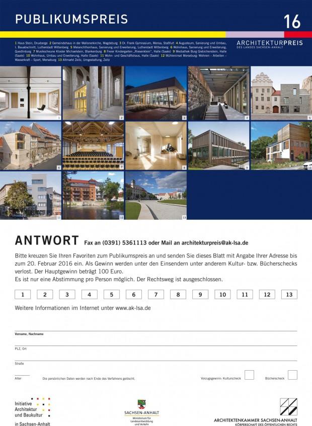 Architekturpreis des Landes Sachsen-Anhalt 2016, Publikumspreis