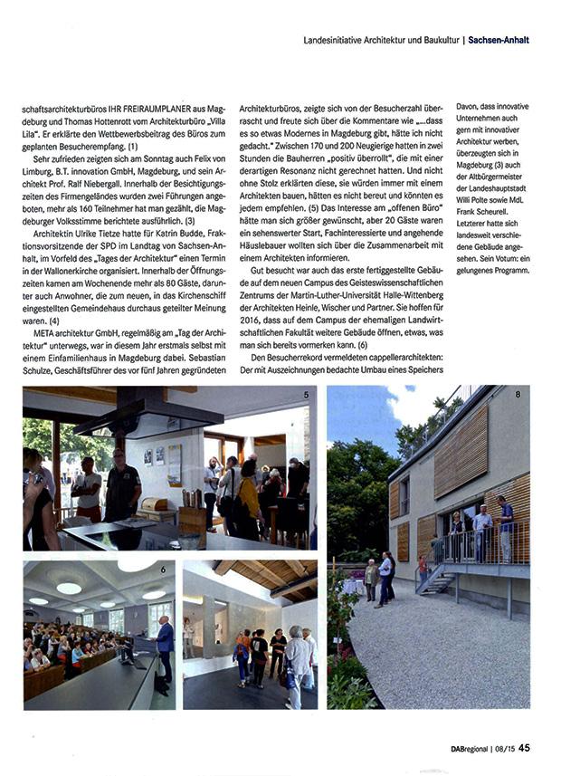 Artikel im Architektenblatt, Schlossberg 2a in Halle